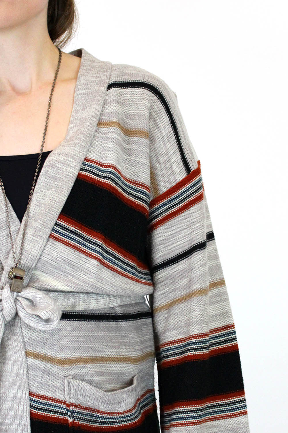 70s striped sweater jacket detail