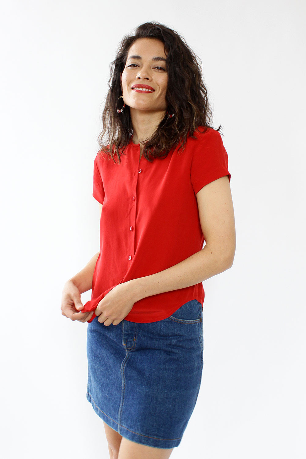 Red Hot Silk Blouse XS