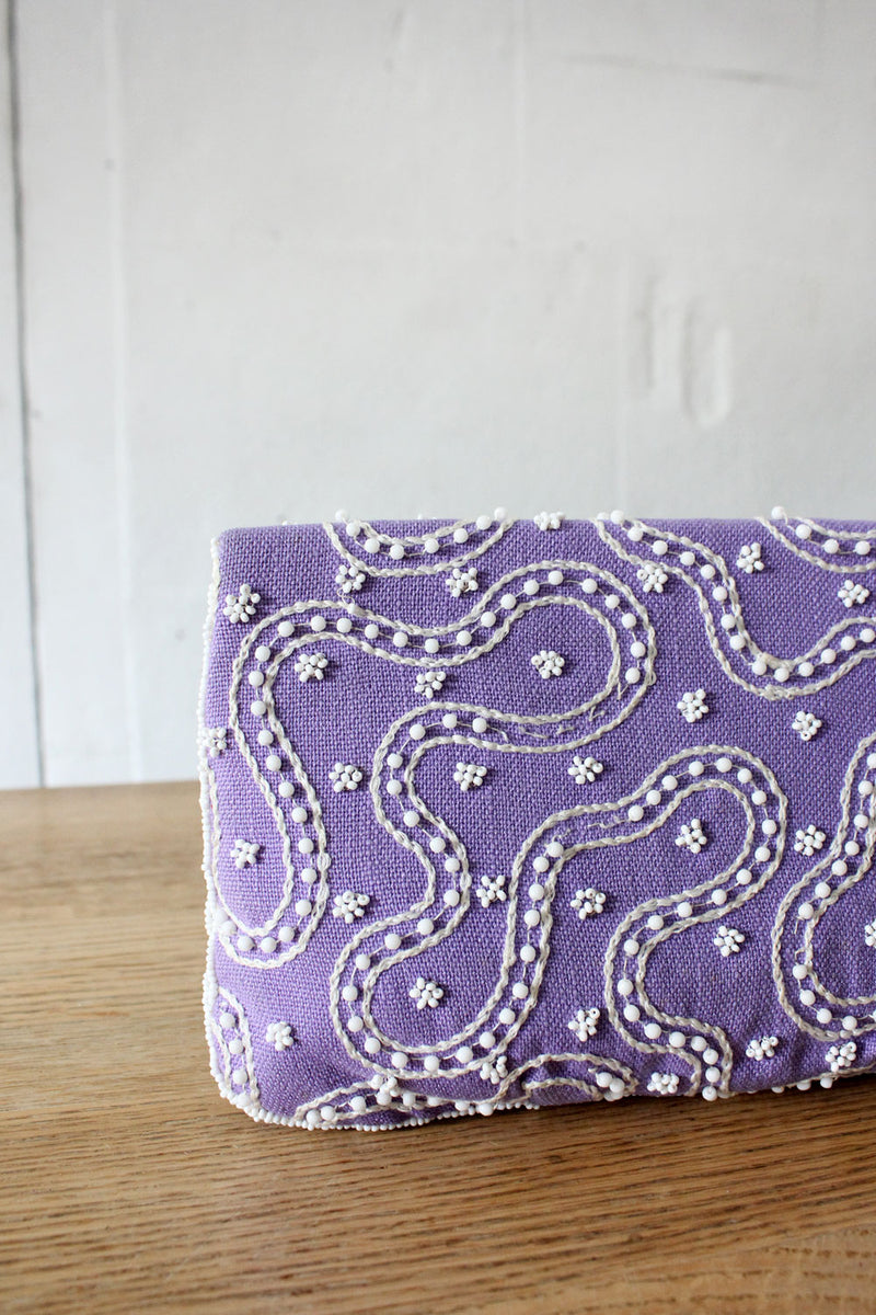 Beaded Lavender Magid Clutch
