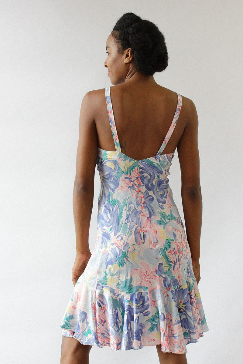 Silk Watercolor Flutter Slipdress XS/S