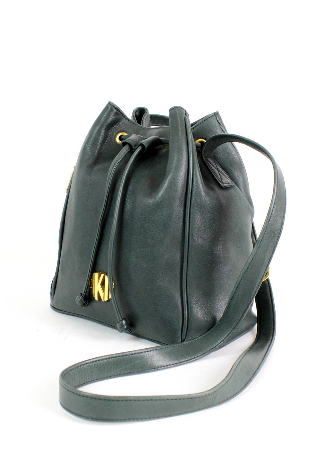 vintage forest green leather bag
