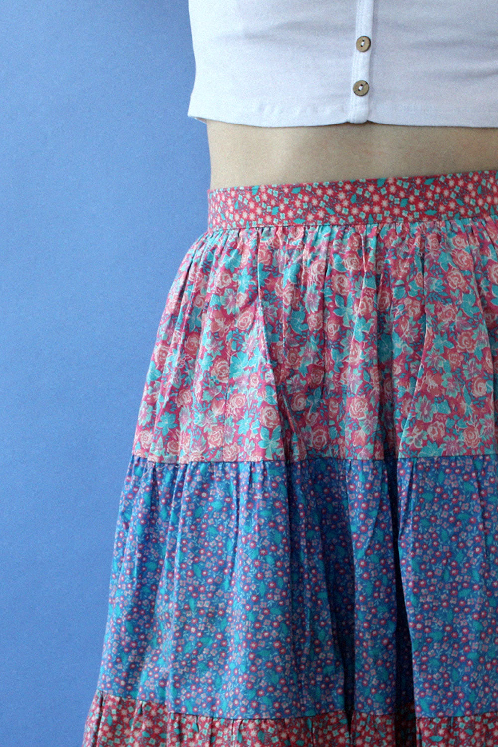 Belle France Floral Tiered Skirt S