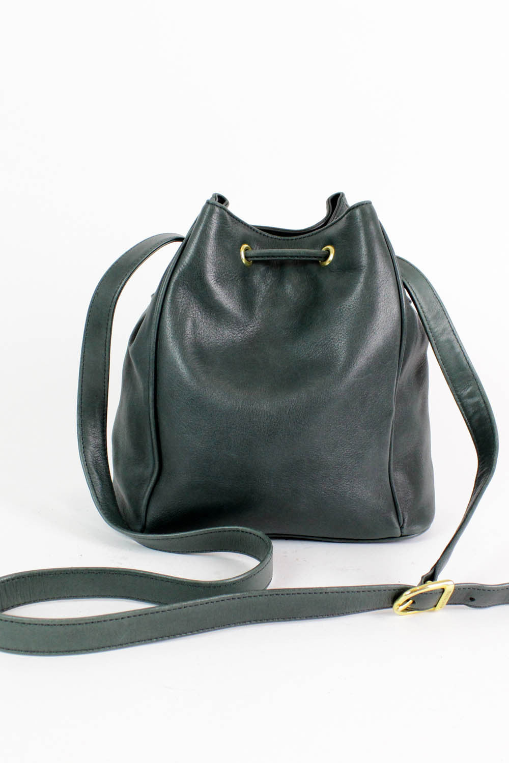teal leather bucket bag