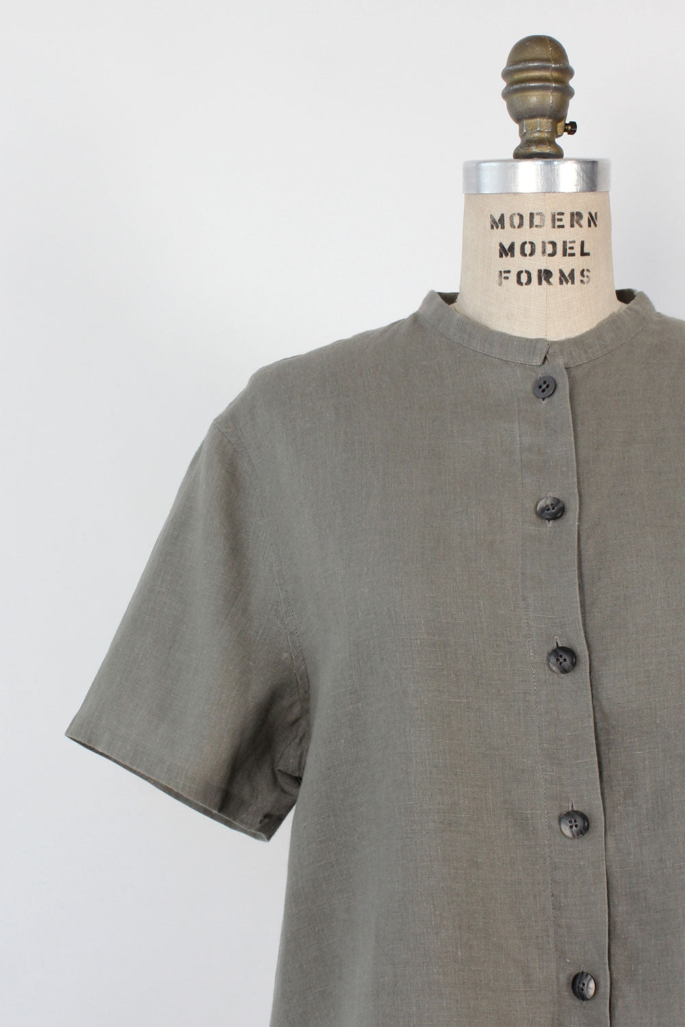 Putty Linen Boxy Blouse M/L