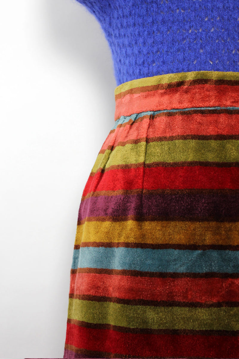 Chenille Candy Stripe Skirt S/M