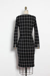 Windowpane Knit Dress L