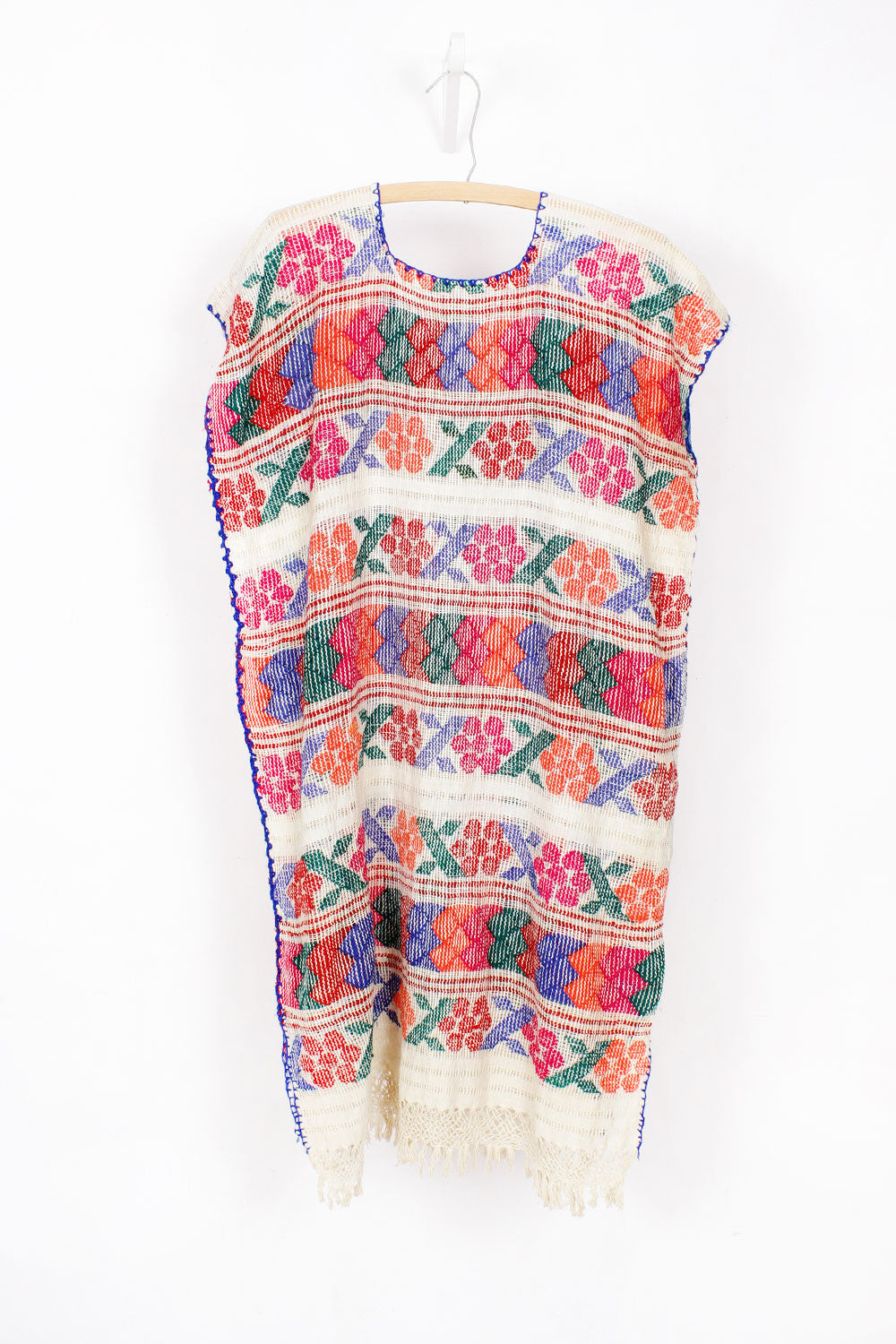 70s Colorful Open Weave Smock Dress