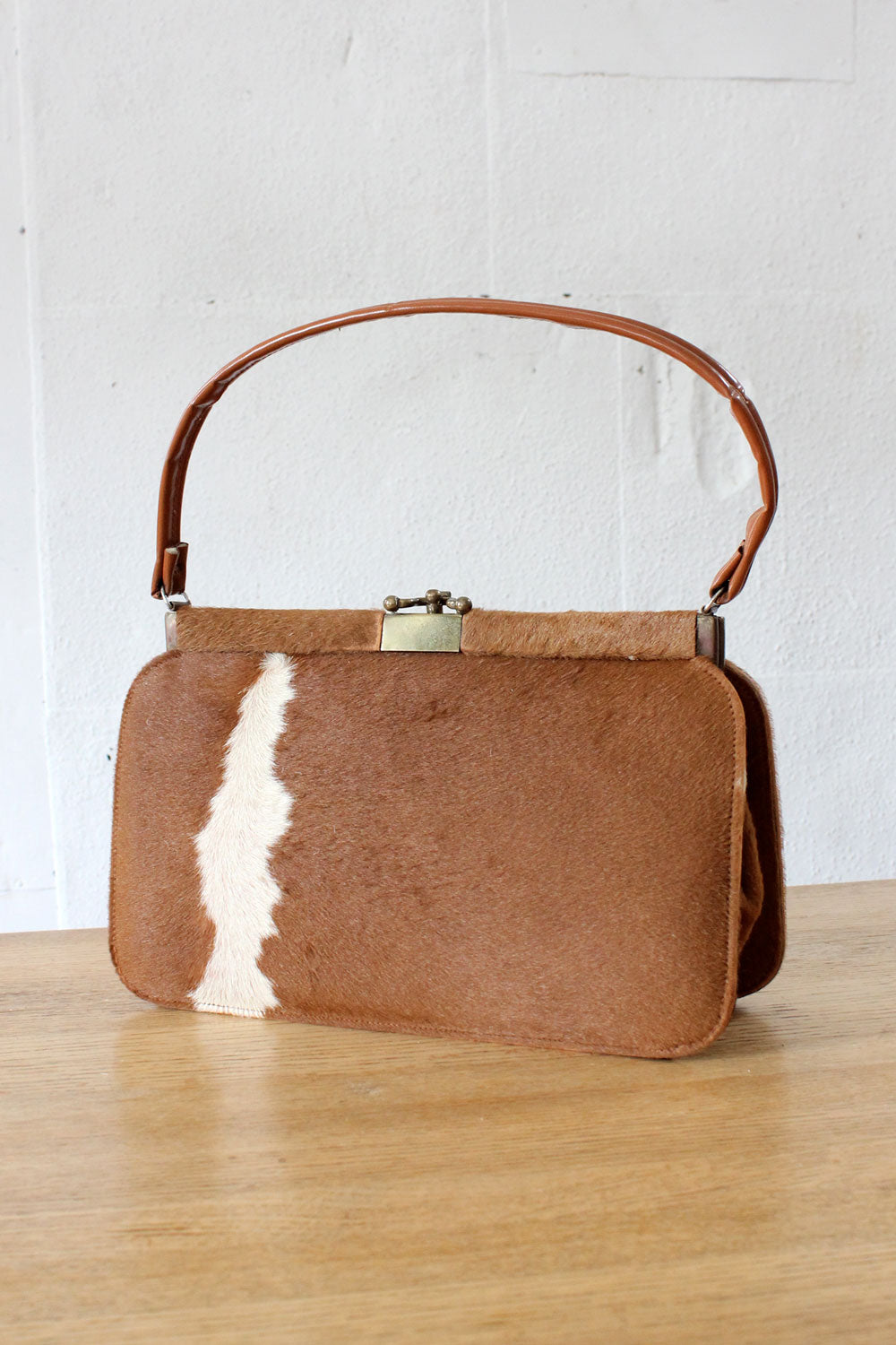 Cowhide Large Structured Purse