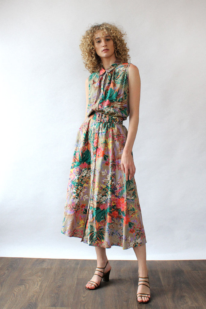 Birds of Paradise Belted Dress L/XL