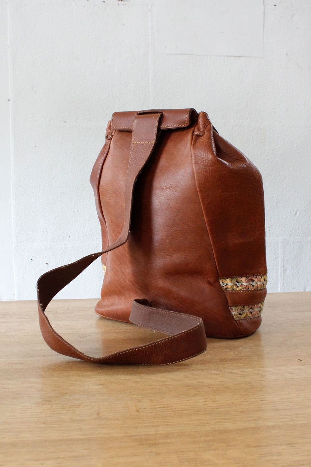 Saddle Leather Bucket Sling Bag
