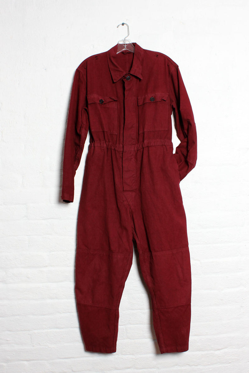 Burgundy Coverall Jumpsuit S/M