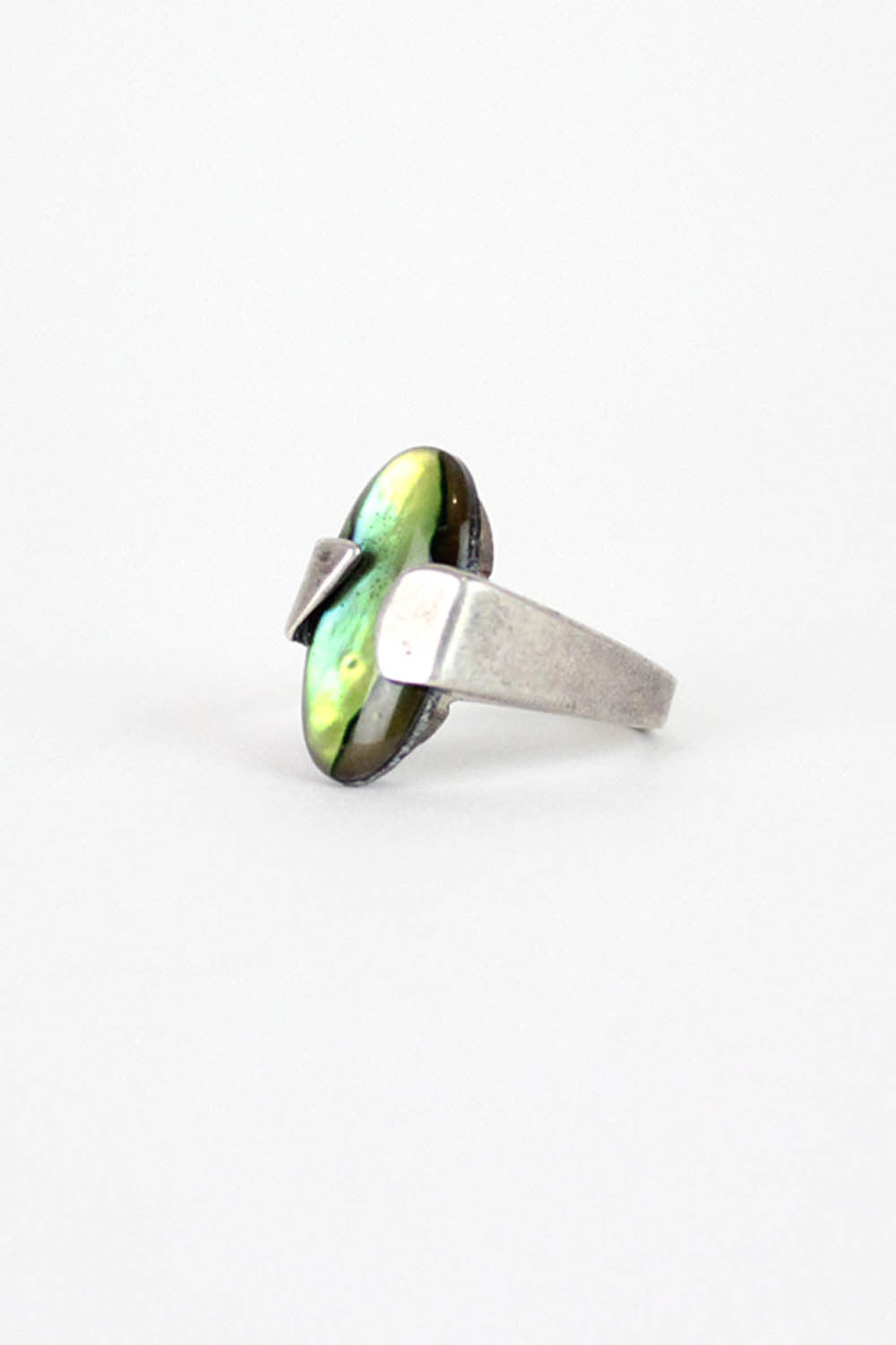 Asymmetrical Sterling Abalone Ring
