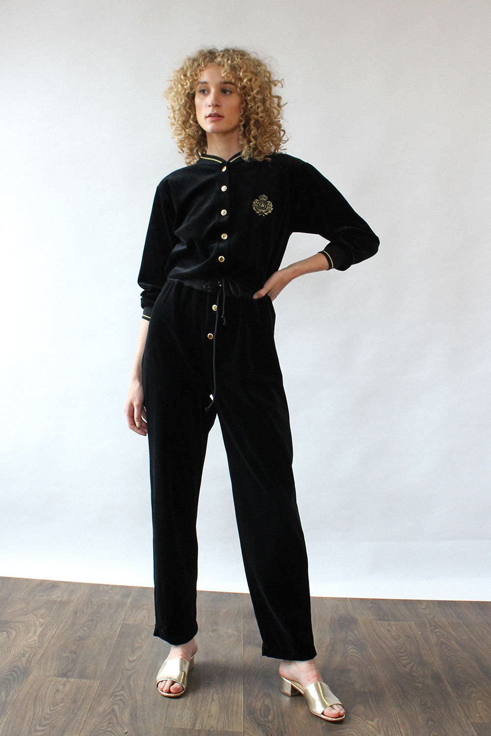 Black & Gold Velour Jumpsuit S/M