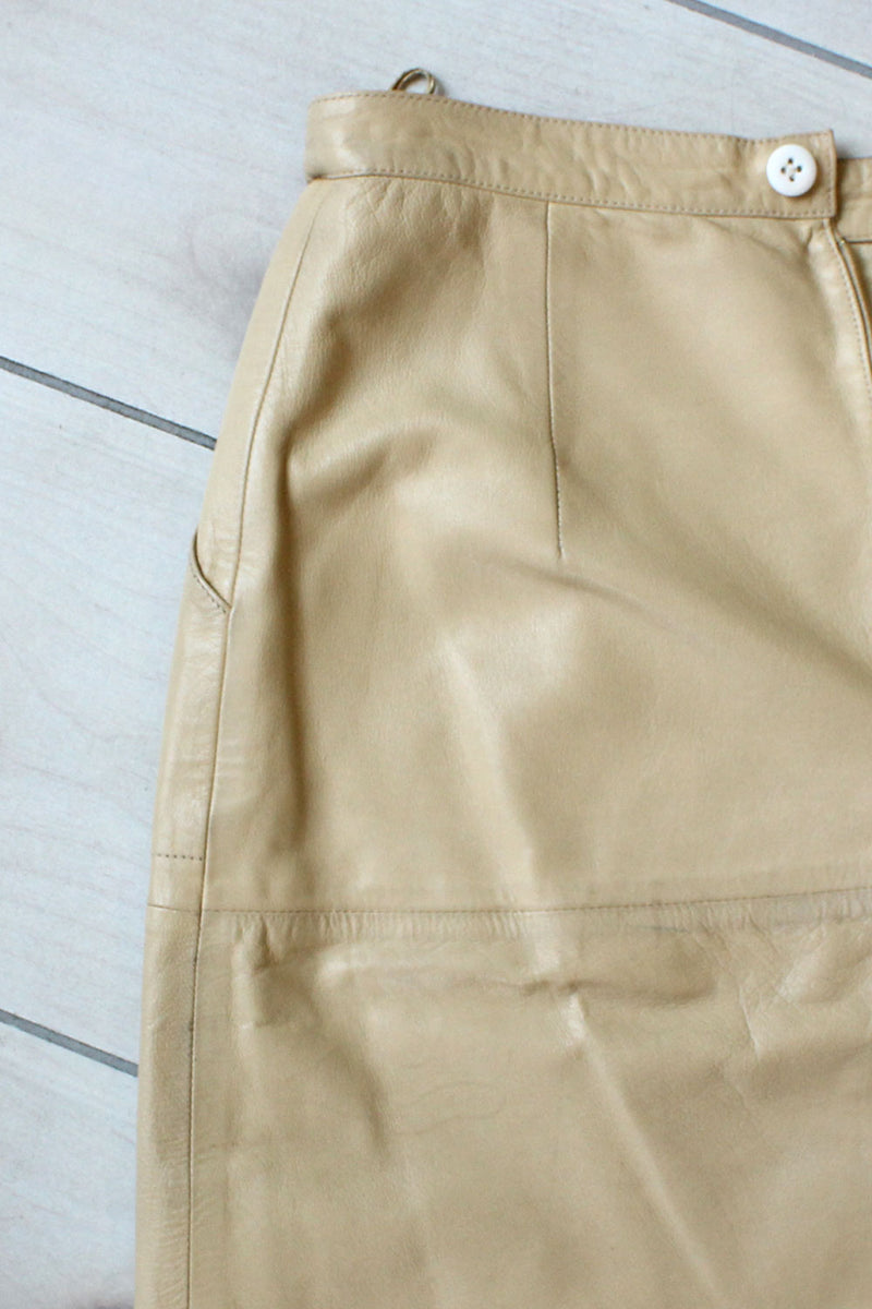 Oatmeal Leather Pencil Skirt S/M
