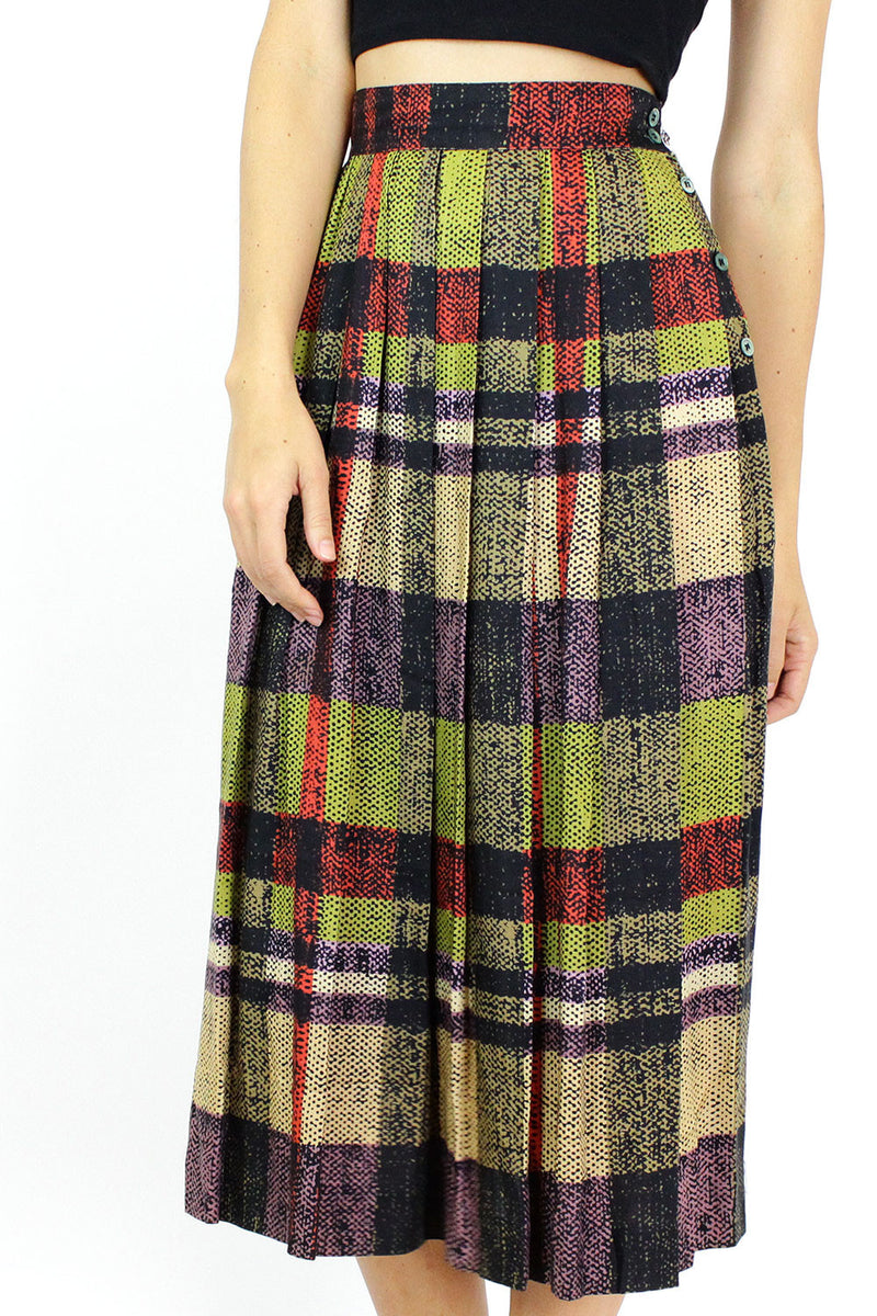 Graphic Plaid Skirt S