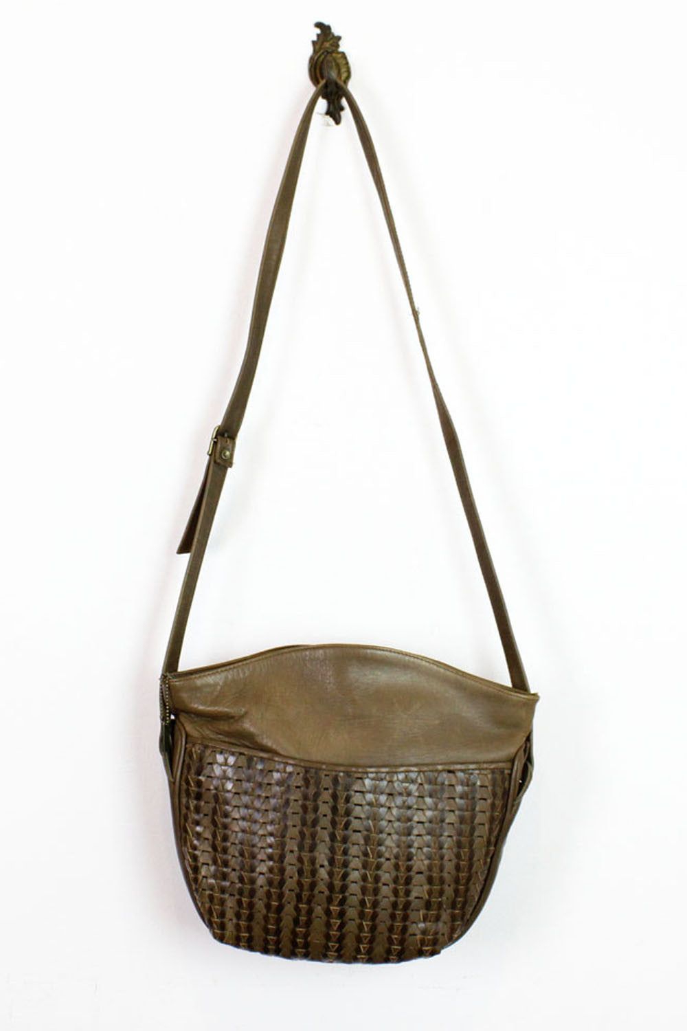 olive woven satchel