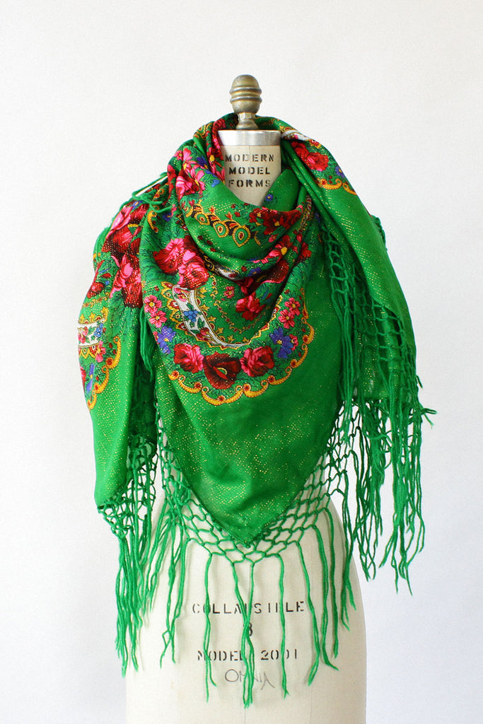 Green Metallic Wool Babushka Shawl
