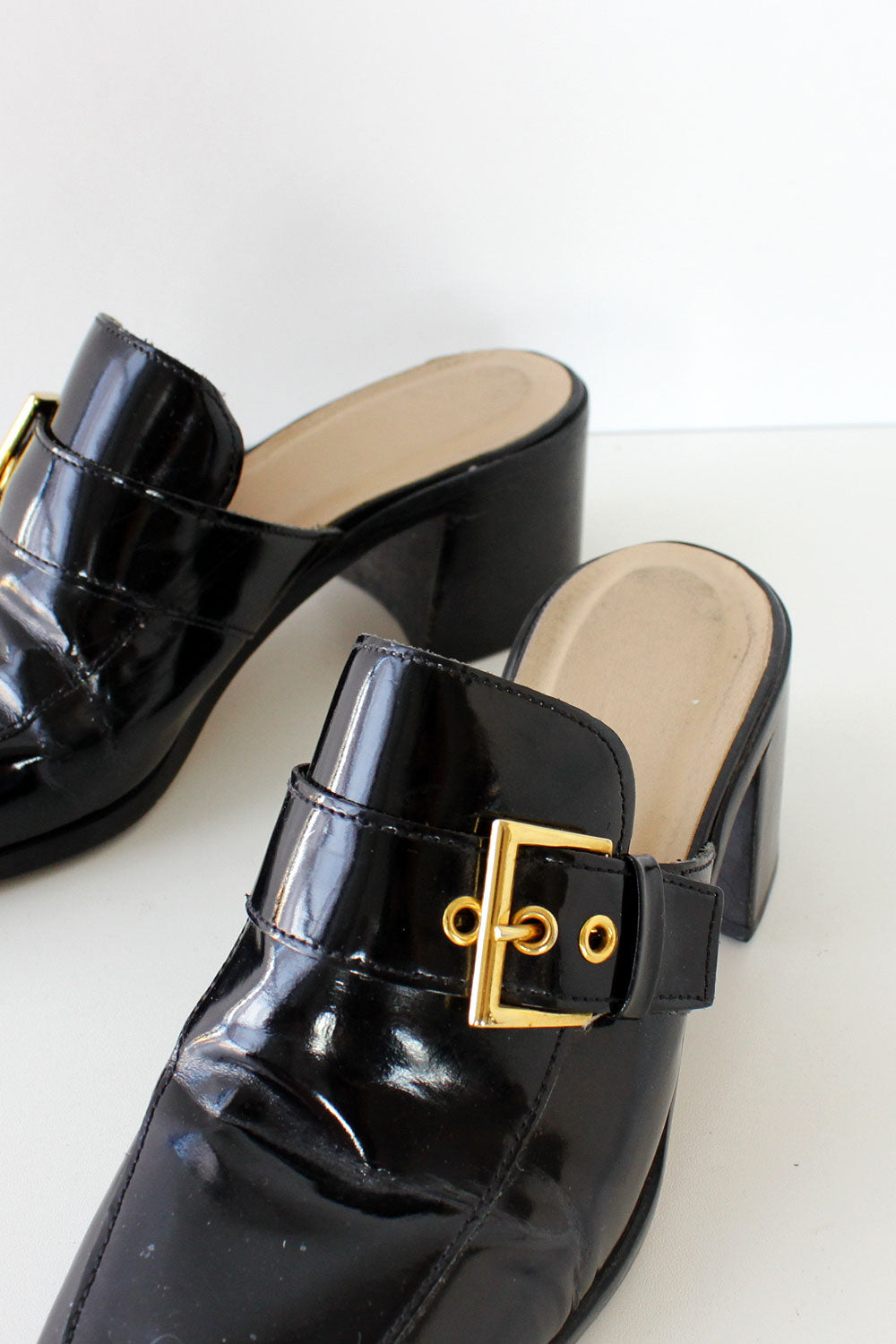 Black Patent Buckle Mules 7