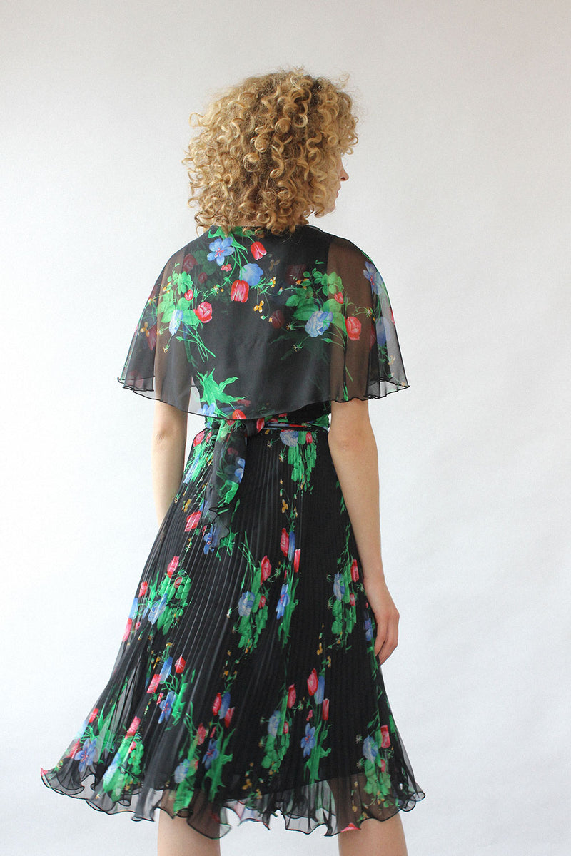 Black Floral Flutter Dress S/M
