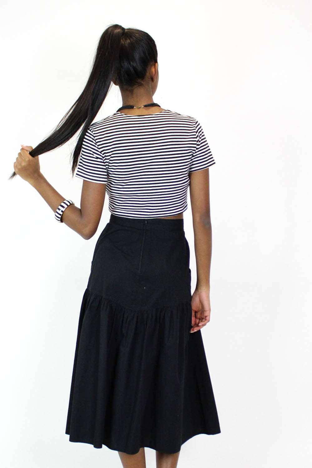 Italian Black Cotton Midi Skirt M/L