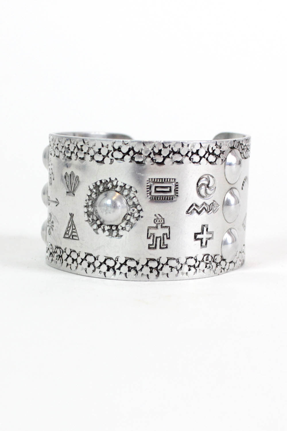 silver symbology tribal cuff