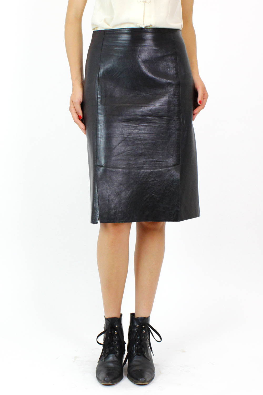 Prada gladiator leather panel skirt M