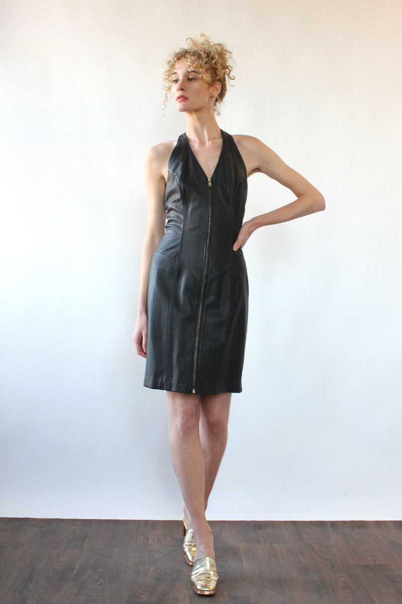 Buttery Leather Zip-up Dress M