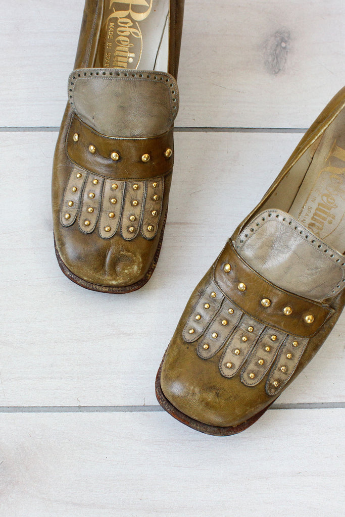 Olive Studded Leather Shoes 8 1/2