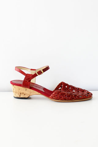 Red Cork Wedge Sandals 6 - 6 1/2