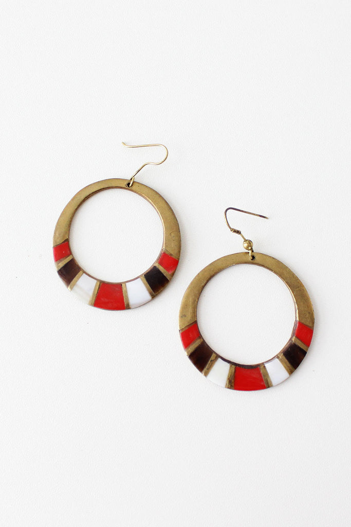 Brass Red Shell Hoops