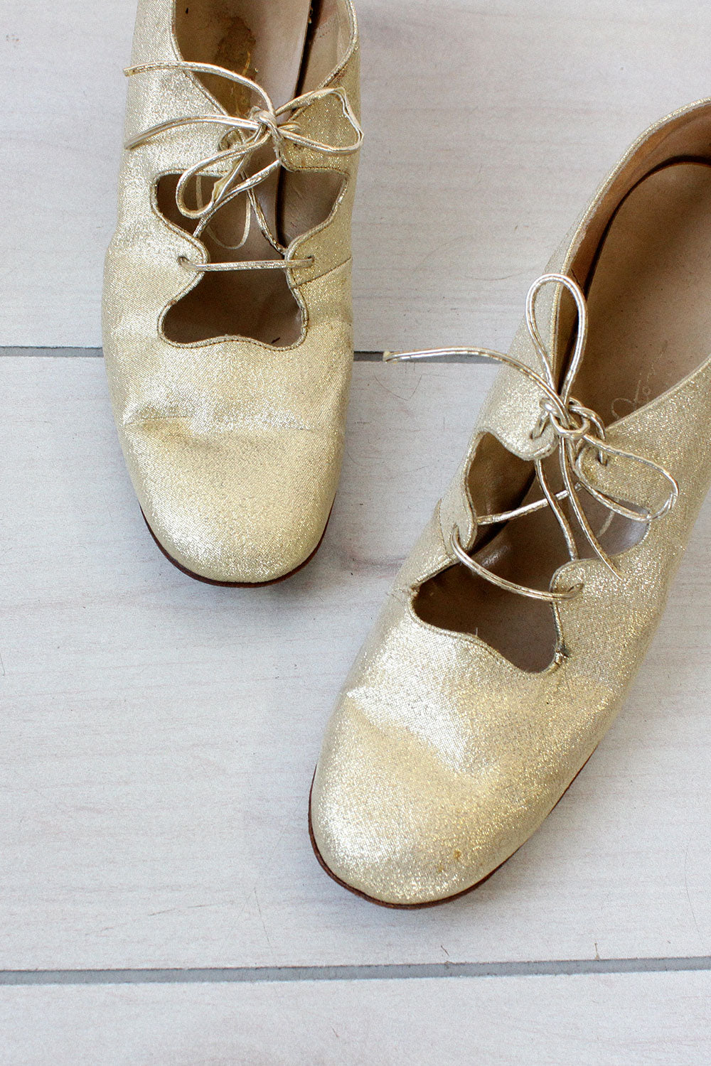 Gold Sparkle Lace-up Heels 7