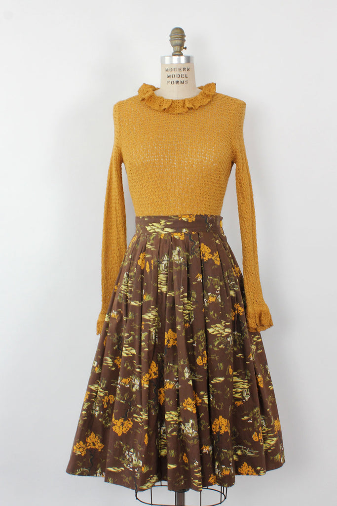 Japanese Garden Full Cotton Skirt M