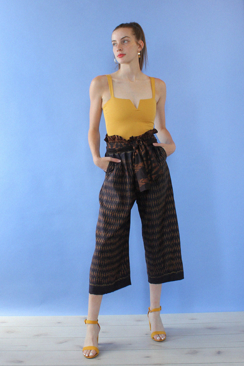 Metallic Ikat Paperbag Pants S-L