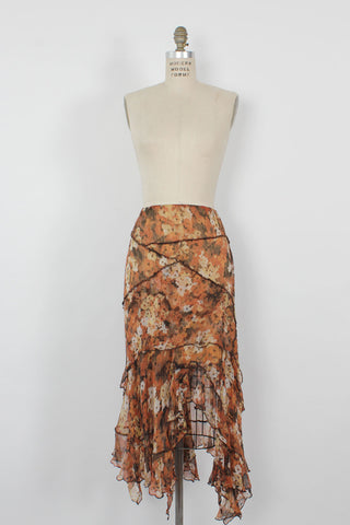 Rose Silk Crinkle Skirt L