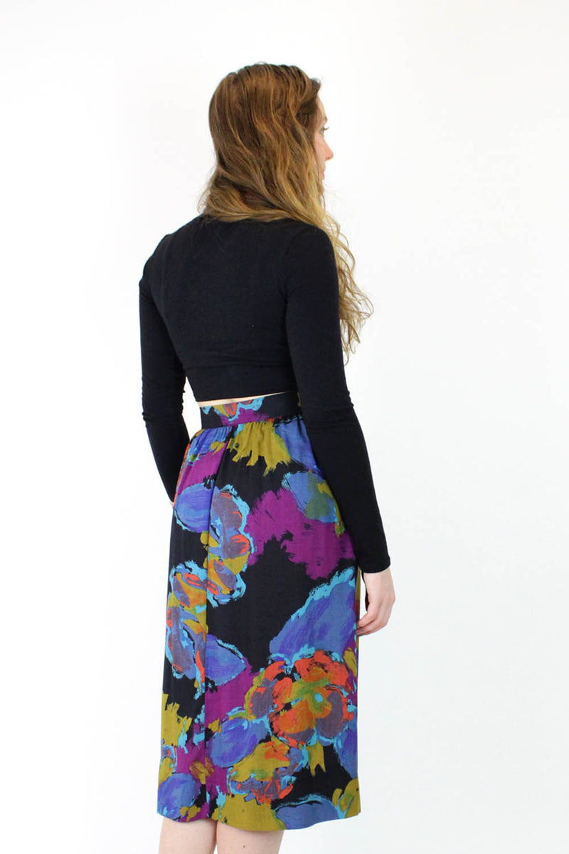 Abstract Paintstroke Floral Full Skirt M/L