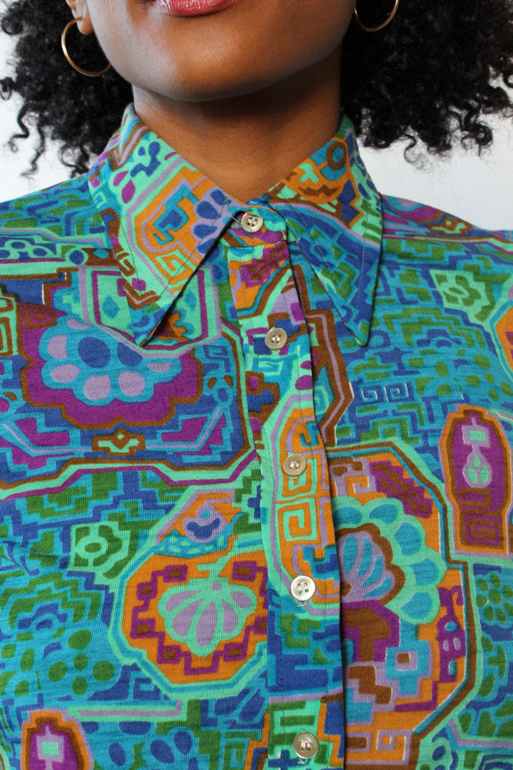 Abstract Stained Glass Button Down M