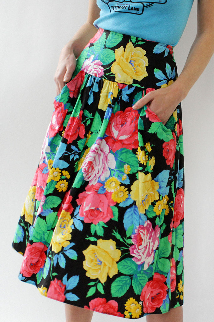 Baroque Floral Full Skirt XS