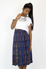 Thai Ikat Pleated Skirt M
