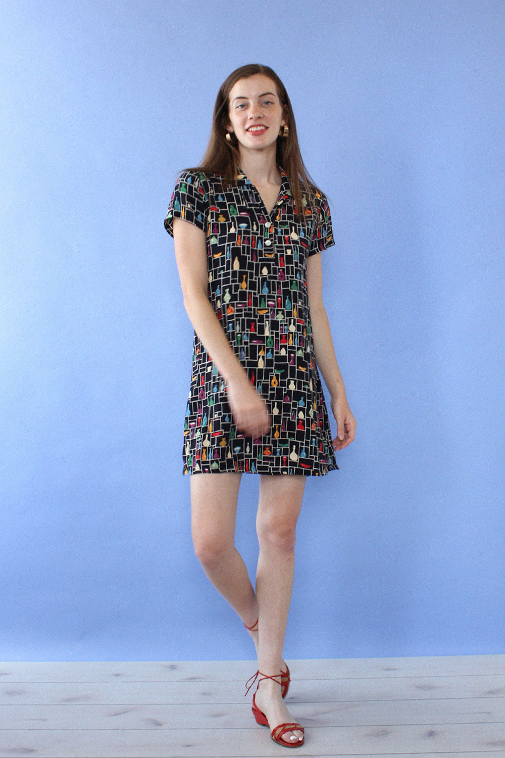 Pottery Print Collared Mini S/M
