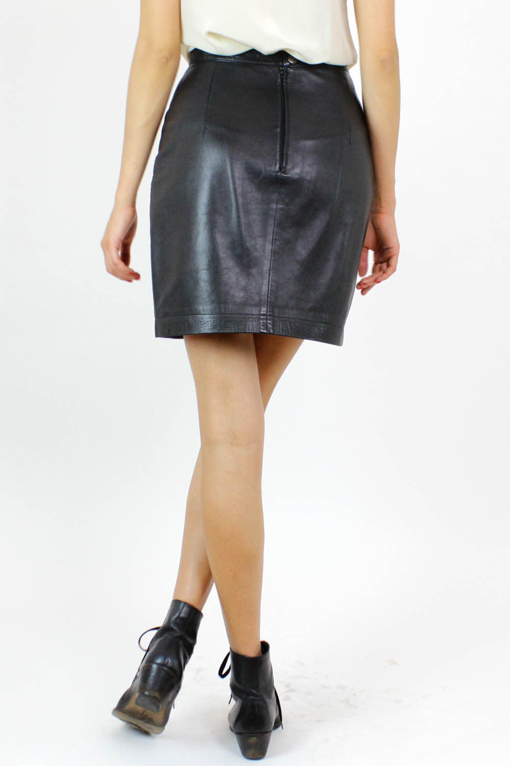 agnes b. leather skirt S