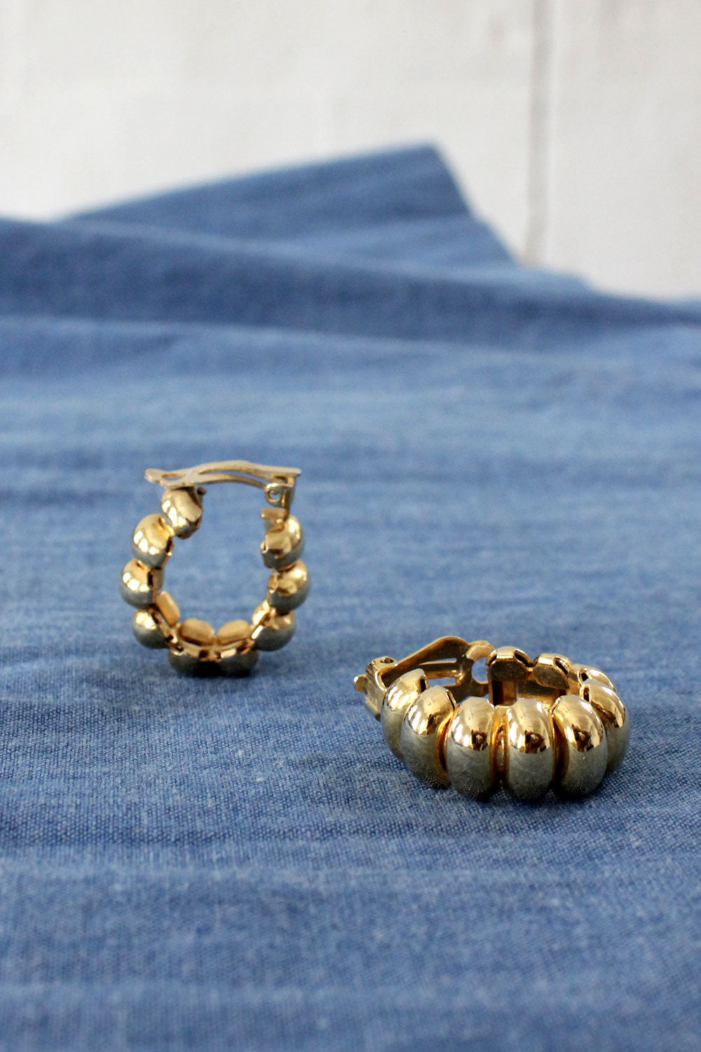 Ridged Goldtone Clip-on Hoops