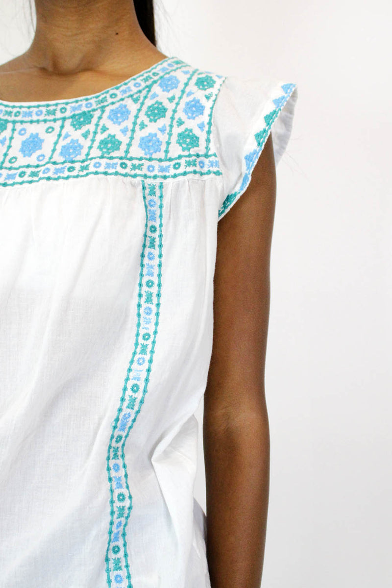 Cotton Cloud Embroidered Top M