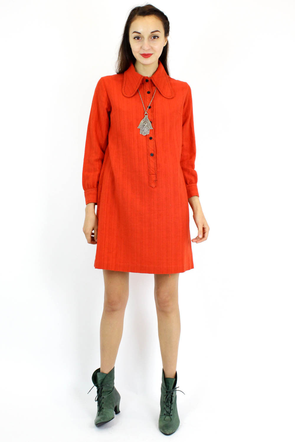 tomato red shirtdress M/L