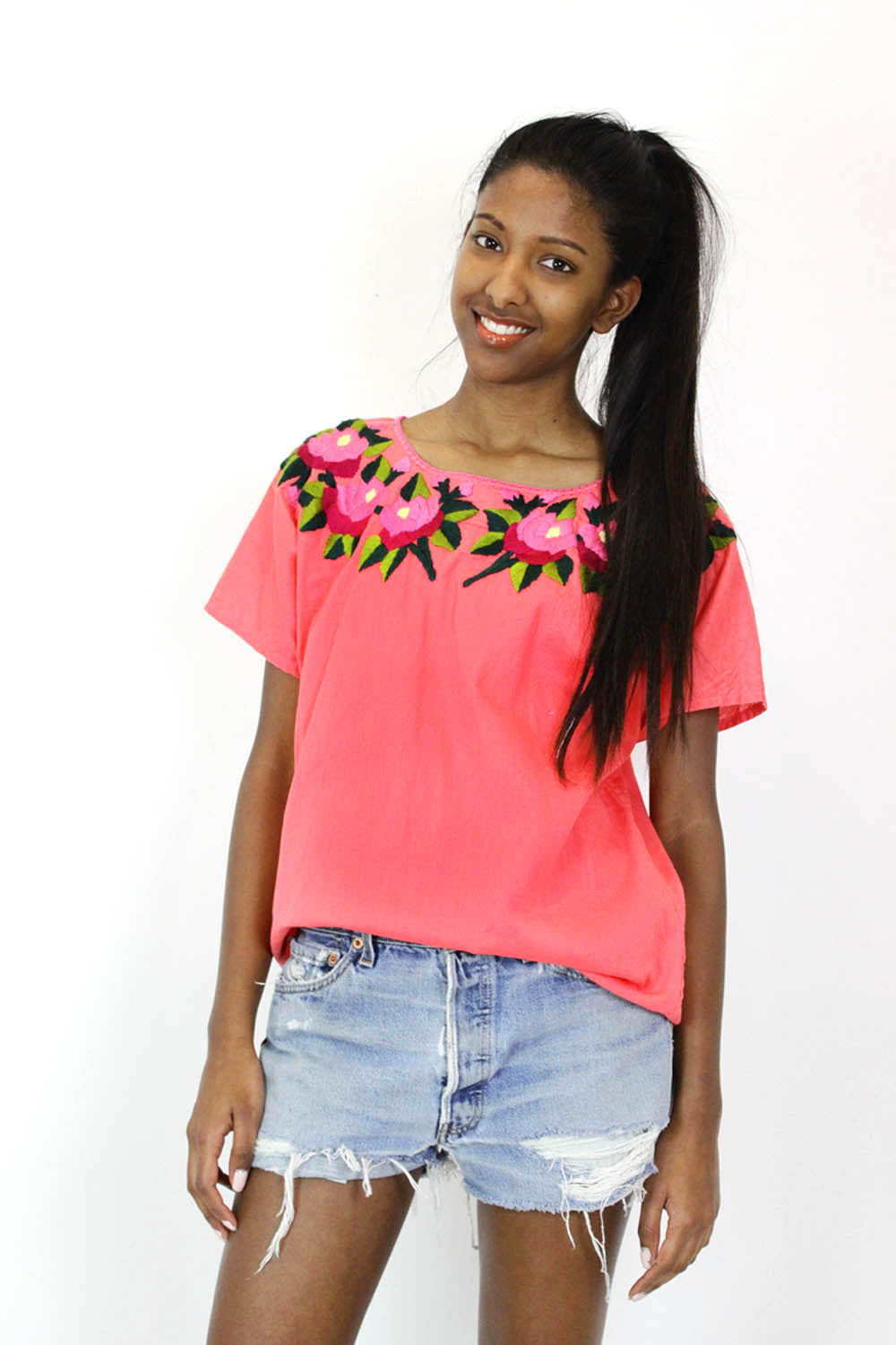 Hot Pink Embroidered Smock Top M
