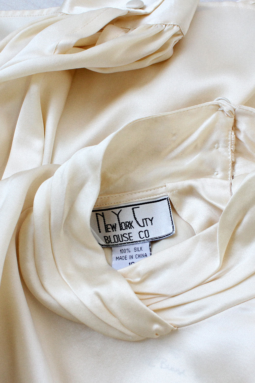 Ivory Silk Satin Blouse M