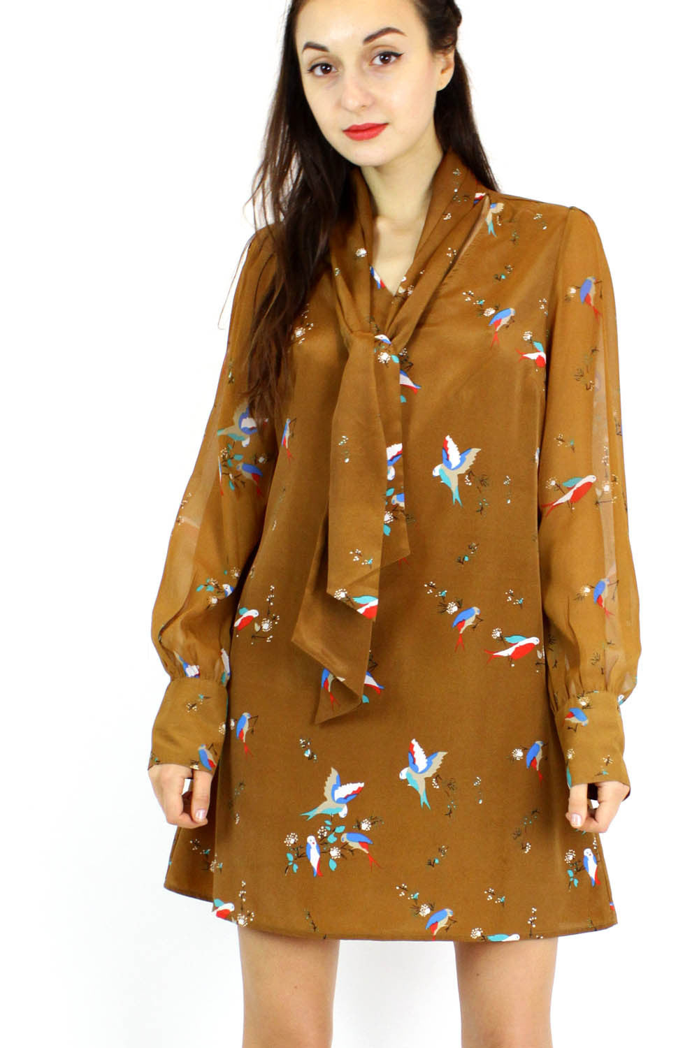 sparrow print daytime dress M