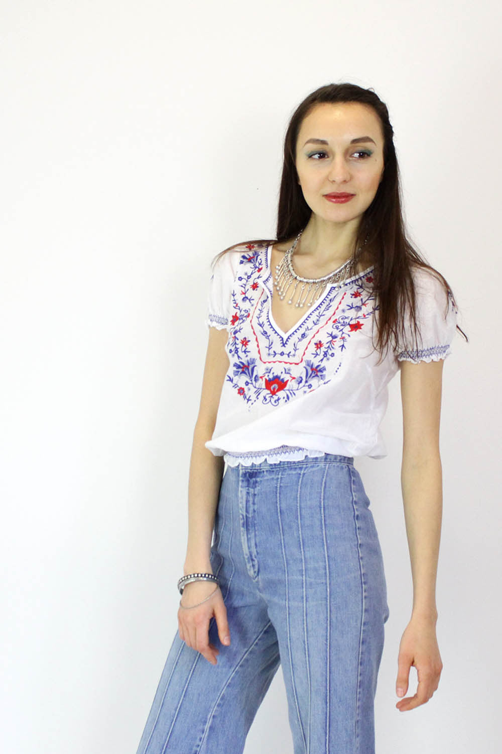 Cotton Picnic Peasant Top S/M