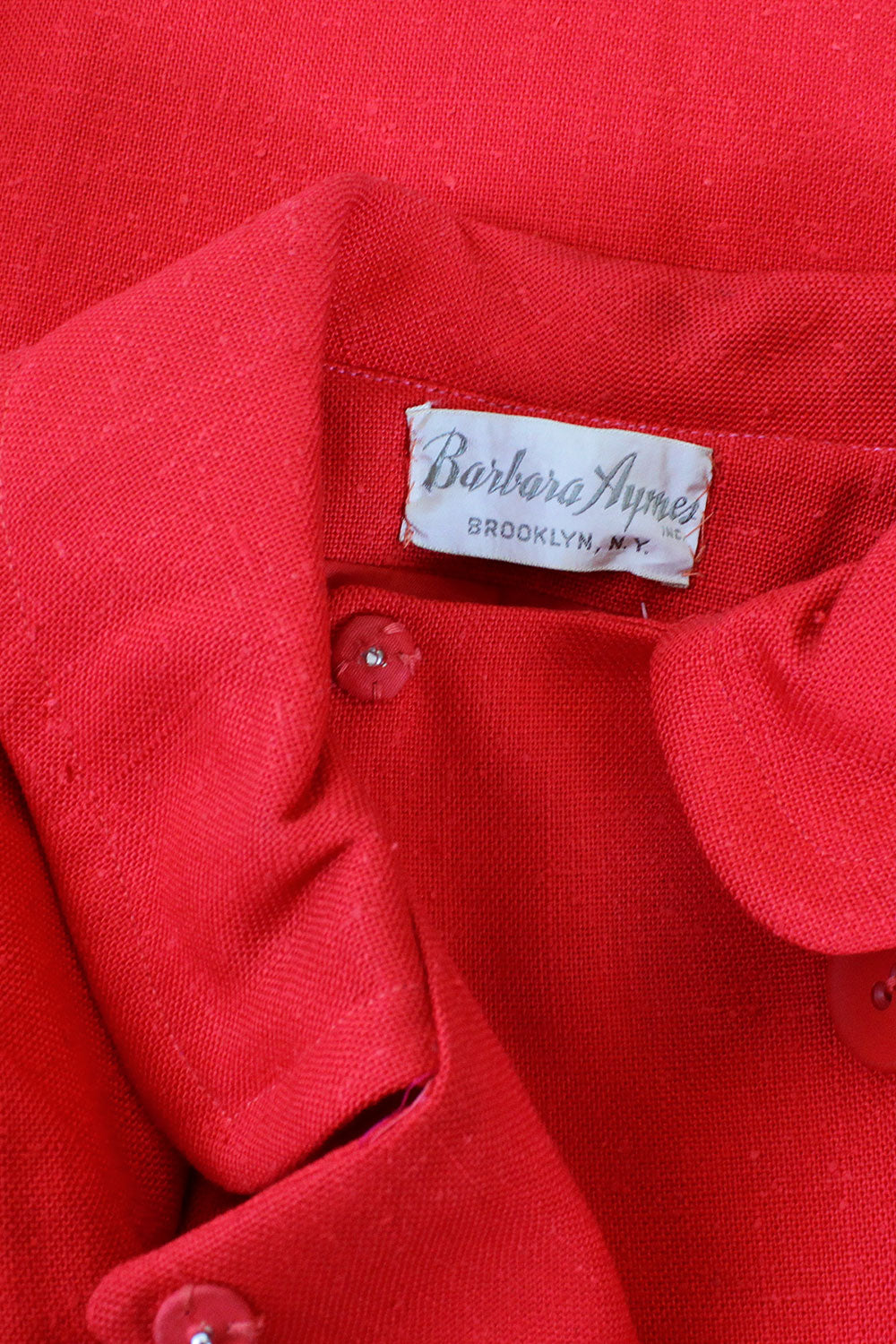 Cherry Red Mod Linen Jacket S