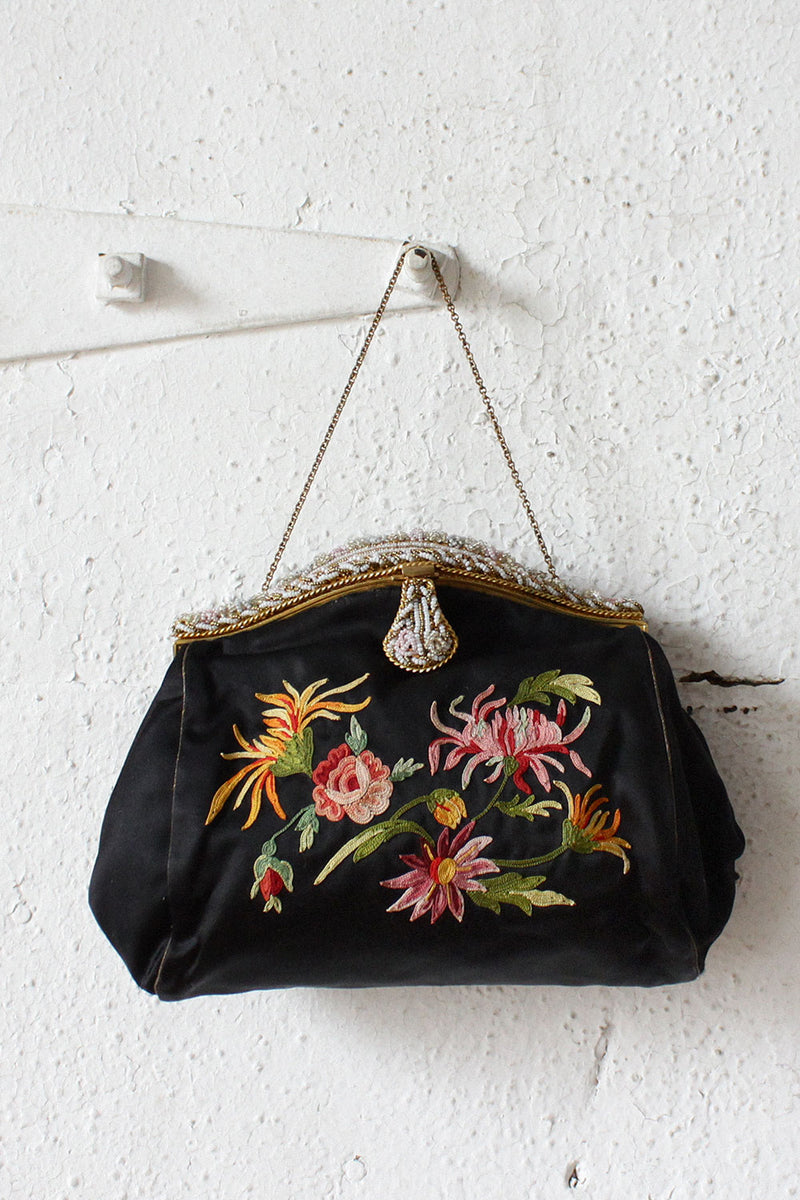 French Satin Floral Evening Purse