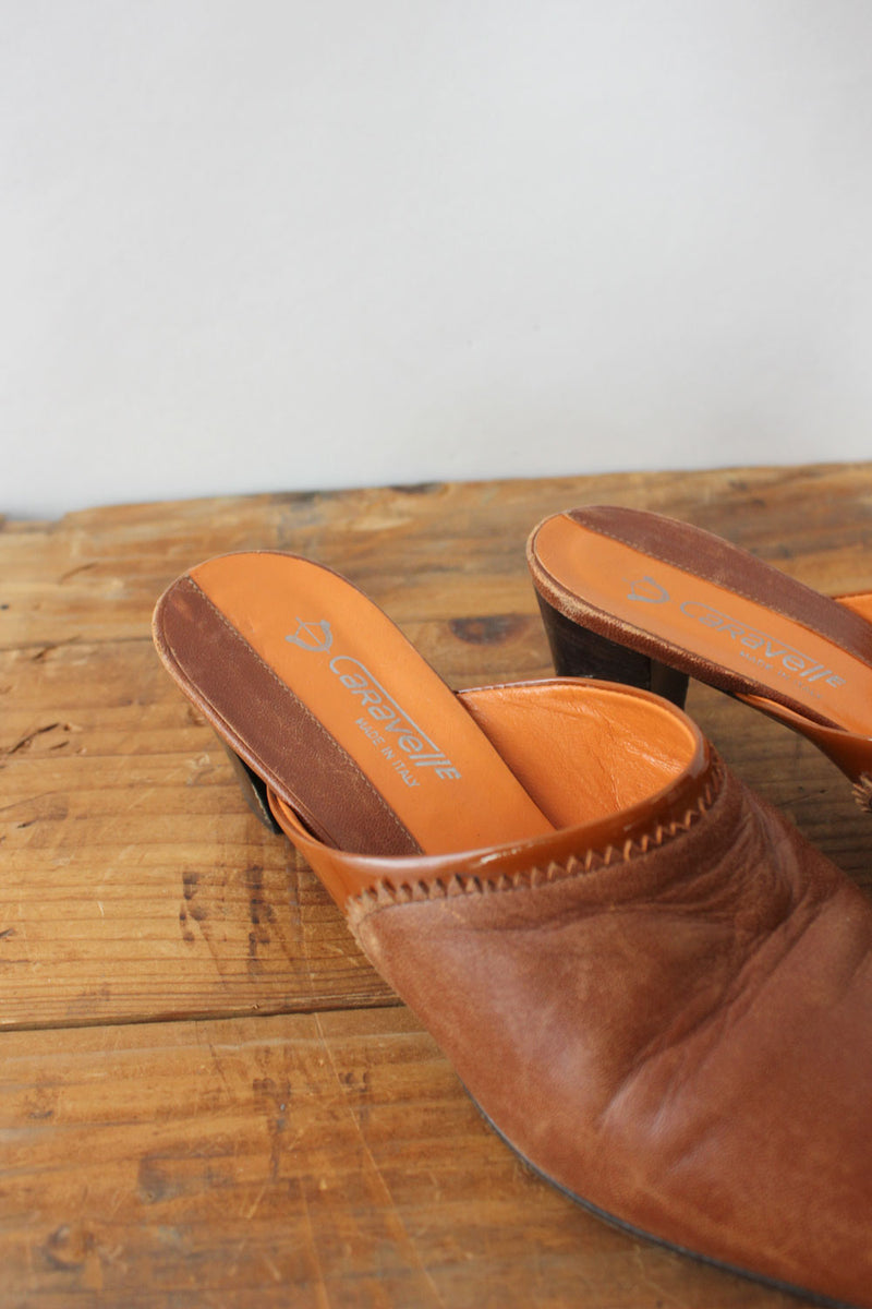 Mahogany Leather Mules 7